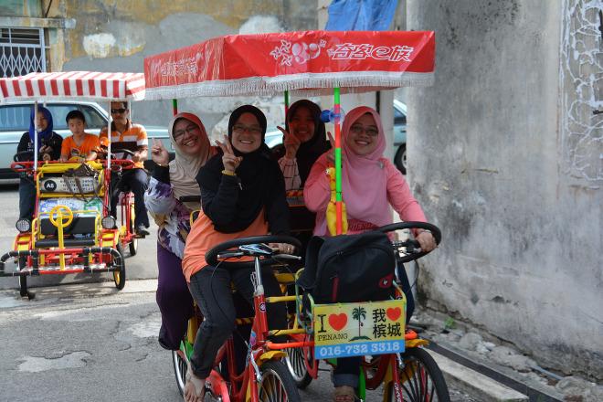 Bicicleta tándem de 4 puestos