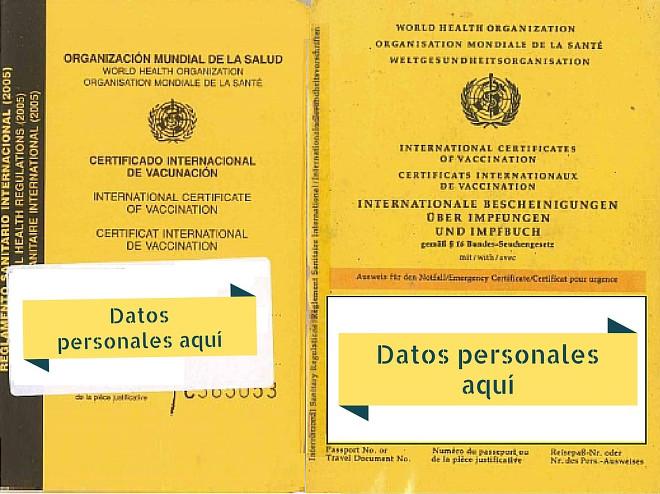 Carné internacional de vacunas de España y Alemania.