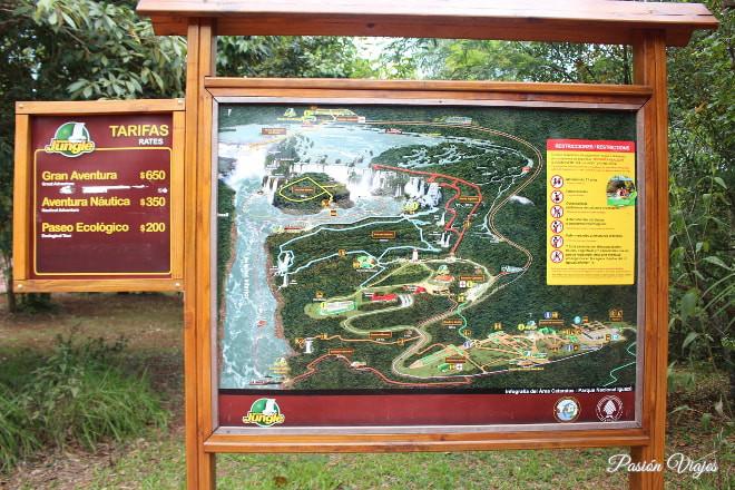 Mapa en el Parque Nacional Iguazú en Argentina.