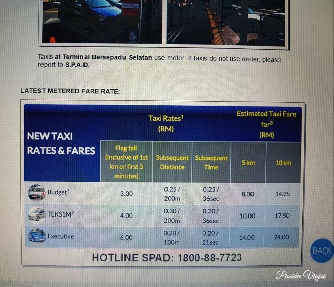 Tarifa de taxis en la página oficial de la TBS.