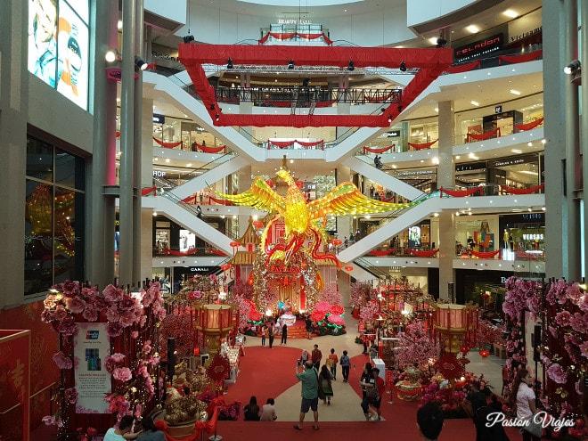 Decoración en un centro comercial en Kuala Lumpur.