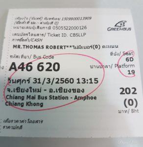 Ticket Green Bus (local) de Chiang Mai a Chiang Khong.