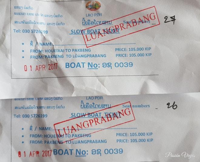 Tickets del Slow Boat comprados directamente en el puerto.
