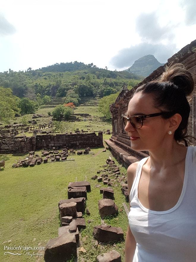 Selfie en las ruinas del templo Wat Phou.